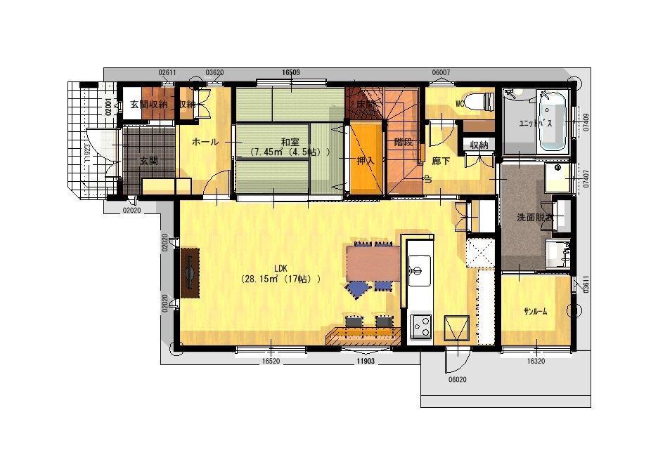 清和モデルハウス:1階平面図