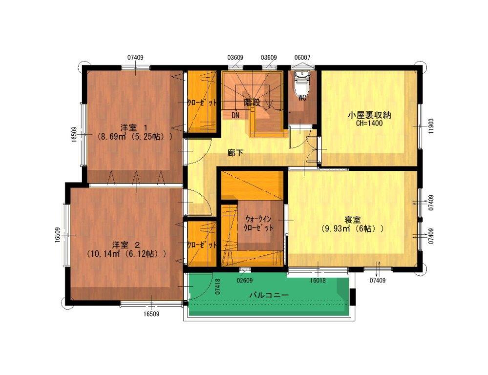 清和モデルハウス:2階平面図